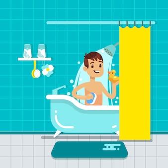 Junger mann im badezimmerhauptinnenraum mit dusche, badvektorillustration