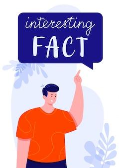 Junger mann im roten t-shirt zeigend auf eine spracheblase mit interessantem faktentext
