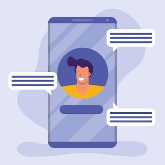 Junger mann im smartphone auf social media