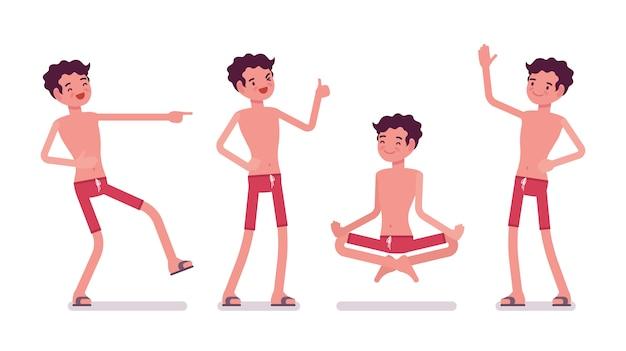 Junger mann im sommerstrandoutfit, glücklich und entspannt