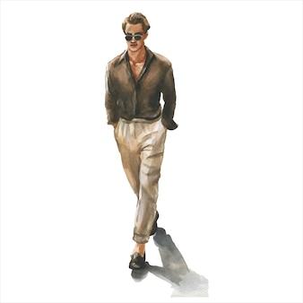 Junger mann im stilvollen trendigen outfit