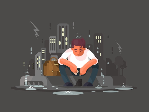 Junger mann in der depression