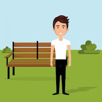 Junger mann in der parkcharakterszene