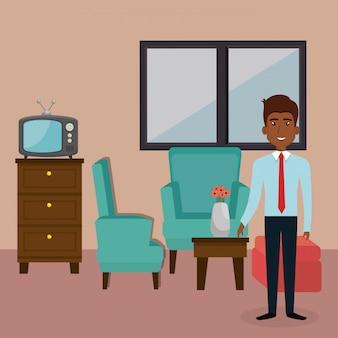 Junger mann in der wohnzimmercharakterszene