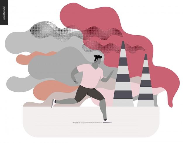 Junger mann läuft in smog