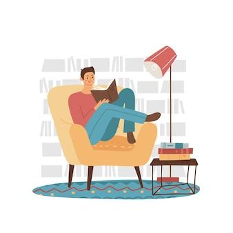 Junger mann leser männlicher student charakter sitzt am sessel und liest buch mit bücherregalhintergrund c...