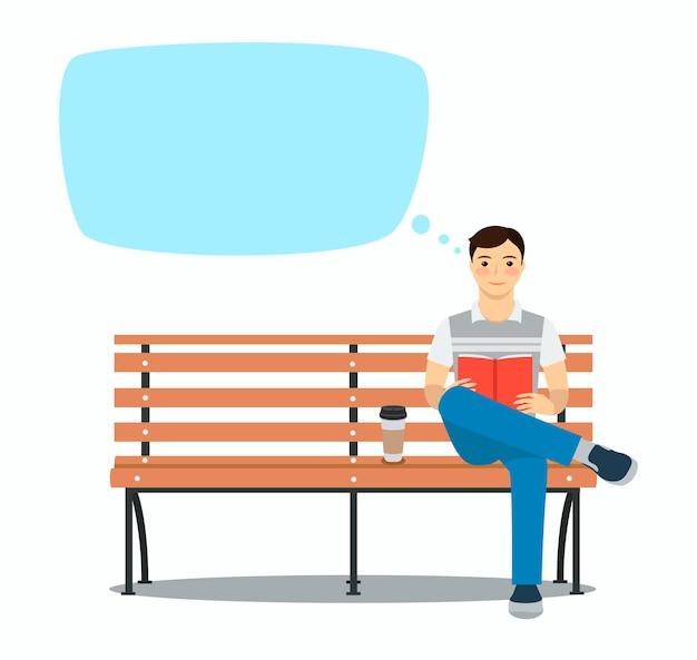 Junger mann liest buch auf der bank ruhe und ruhige zeit im freien vektor-illustration sprechblase