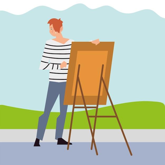 Junger mann malt mit leinwand in der parkillustration