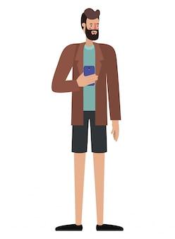 Junger mann mit bart und smartphone