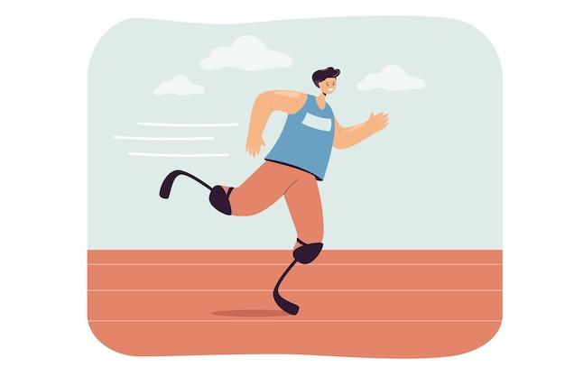 Junger mann mit beinprothesen, die an sportrennen teilnehmen