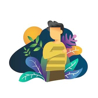 Junger mann mit buntem florahintergrund-illustrationsvektor