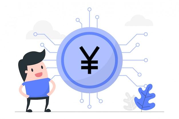 Junger mann mit digitalem yuan. Premium Vektoren