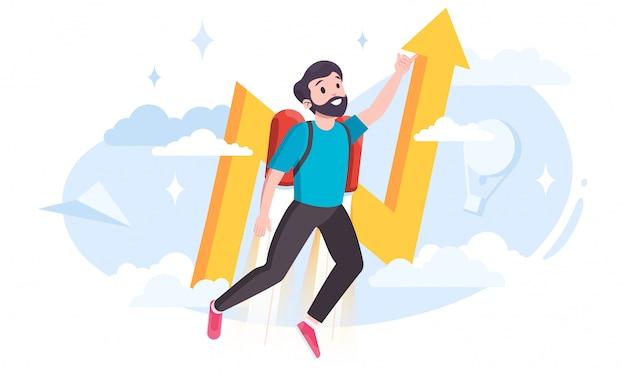 Junger mann mit einem jetpack als metapher für geschäftsinnovationen.