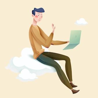 Junger mann mit einem laptop