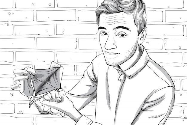Junger mann mit ernstem gesicht, das seine leere brieftasche zeigt. backsteinmauer hintergrund. strichzeichnungen