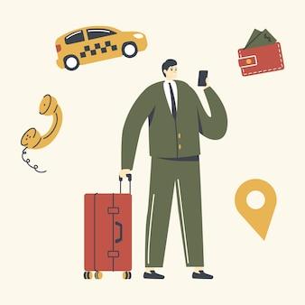 Junger mann mit gepäck, das auf der straße steht und anwendung für die bestellung des taxis anruft.