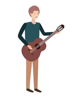 Junger mann mit gitarrencharakter