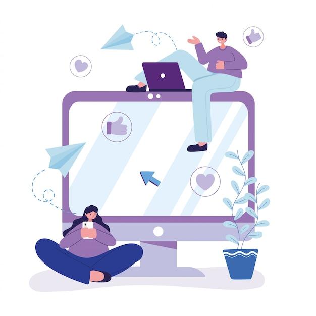 Junger mann mit laptop und frau mit smartphone-chat