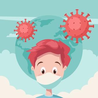 Junger mann mit maske für coronavirus-ausbruch