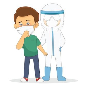 Junger mann mit maske und arzt mit schutzanzug gegen covid 19