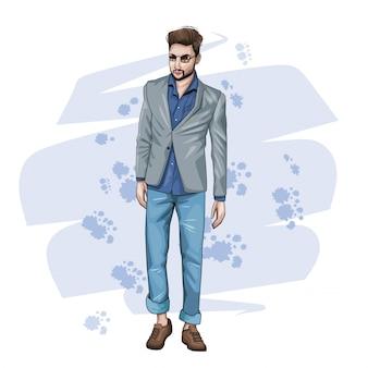 Junger mann mit modekleidung
