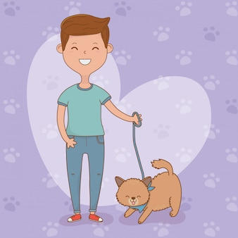 Junger mann mit nettem hundemaskottchen
