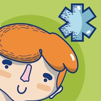 Junger mann mit niedlicher karikatur des caduceus-medizinischen symbols