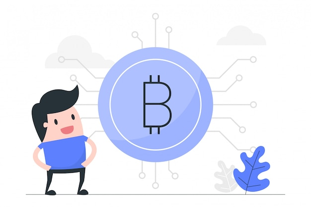 Junger mann mit riesigem bitcoin.