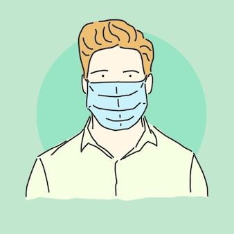 Junger mann mit schützender gesichtsmaske
