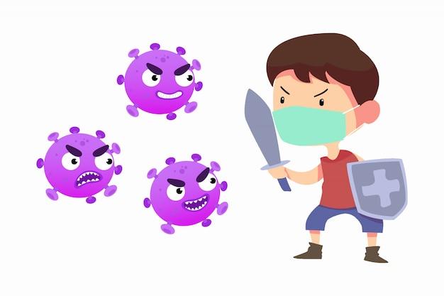Junger mann mit schwert und schild kämpfen mit coronavirus-infektion