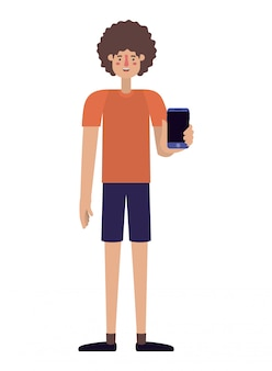 Junger mann mit smartphone