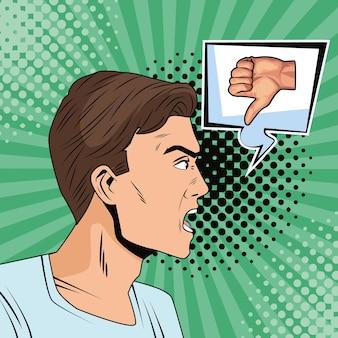 Junger mann mit sprechblase und schlechtem signal-pop-art-stil der hand