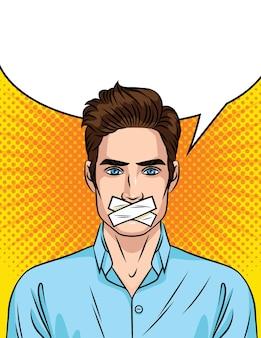 Junger mann mit versiegeltem mund. der mann kann nicht sprechen