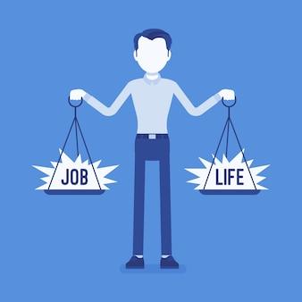 Junger mann mit waage zum ausgleich von beruf und leben. mann, der in der lage ist, harmonie, arbeitsvereinbarung, familienvereinbarung zu finden, gewichte in den händen zu halten, den richtigen lebensstil zu wählen.