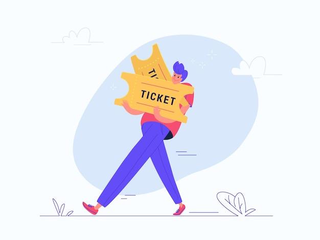 Junger mann mit zwei schweren tickets