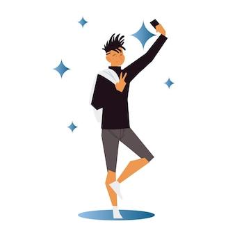 Junger mann nimmt ein selfie mit smartphone in handillustration
