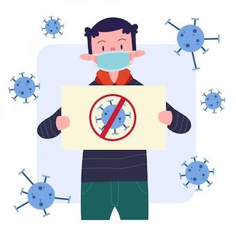 Junger mann oder junge oder mann oder person oder charakter tragen medizinische maske mit virus poster design. flaches illustrationskonzept. isoliert.