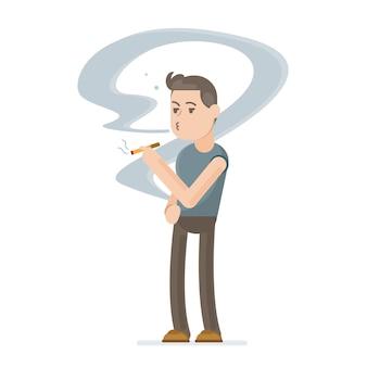 Junger mann raucht eine zigarette