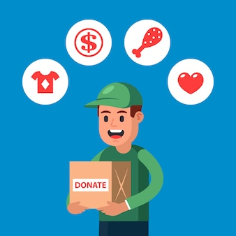 Junger mann spendet dinge für wohltätige zwecke. spenden für menschen in schwierigen zeiten sammeln. flache charakter-vektor-illustration.