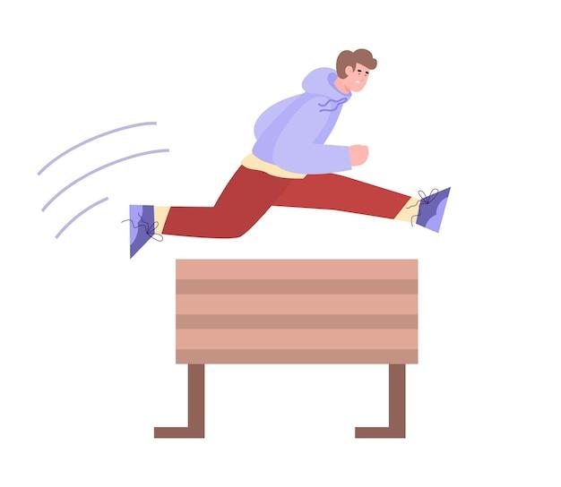 Junger mann springt über hindernis oder barriere flach isoliert