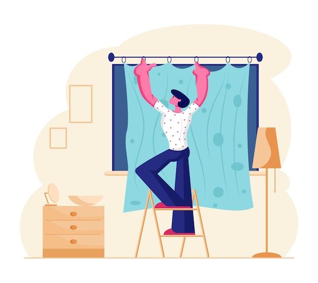 Junger mann stehen auf leiter hängenden vorhängen am fenster im wohnzimmer. karikatur flache illustration