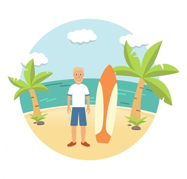 Junger mann surfer am strand mit einem surfbrett.
