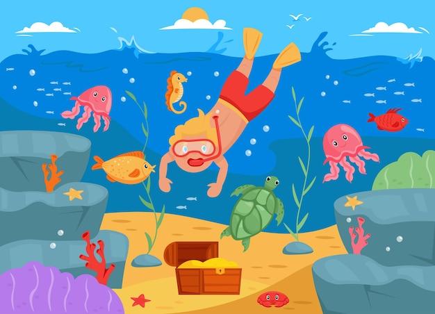Junger mann taucht unter wasser für schatzillustration der unterwasserwelt