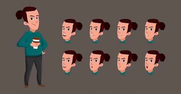 Junger mann-trinkende kaffee-jungen-charakter-karikatur mit unterschiedlichem gesichtsausdruck