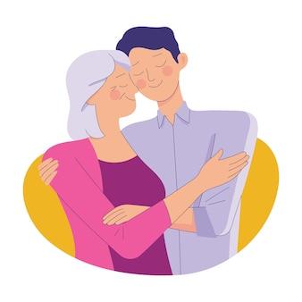 Junger mann umarmt ihre alte mutter mit liebe, mutter und sohn lieben es als familie