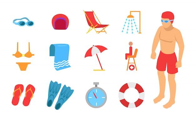 Junger mann umgeben mit schwimmen-ausrüstungs-ikone