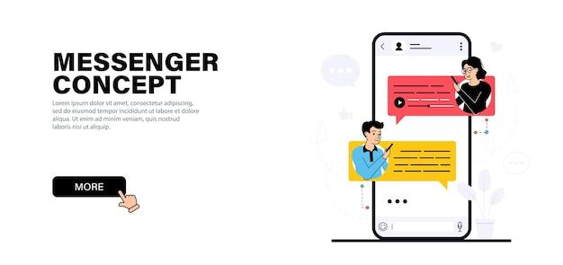 Junger mann und ein mädchen kommunizieren im messenger per text- und sprachnachrichten