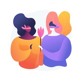 Junger mann und frau am blind date. romantische überraschung, ausdruck verliebter gefühle, liebhaber mit verbundenen augen. freund gibt freundin blume.
