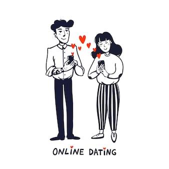 Junger mann und frau auf der suche nach liebe mit einer handy-app Premium Vektoren