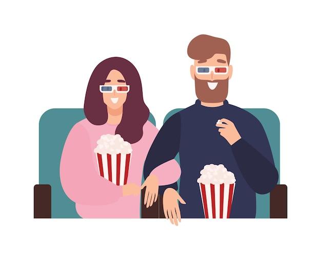 Junger mann und frau in 3d-brille, die zusammen film oder film im kino ansehen
